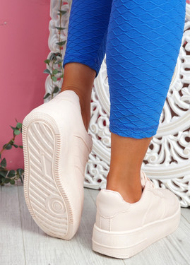Merty Pink Flatform Trainers