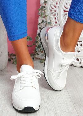 Monty White Lace Up Trainers