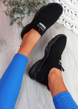 Vidy Black Knit Trainers