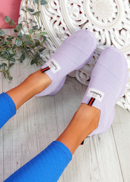 Vidy Purple Knit Trainers
