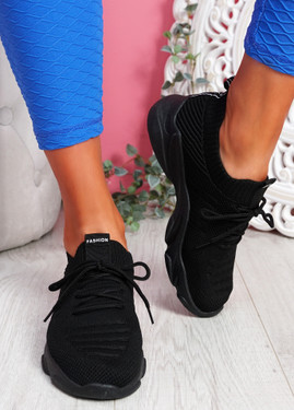 Elen Black Chunky Knit Sneakers