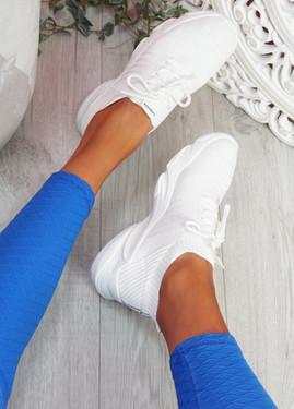 Elen White Chunky Knit Sneakers