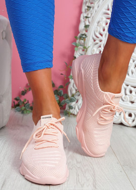 Elen Pink Chunky Knit Sneakers