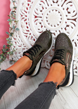 Jomy Dark Green Croc Glitter Trainers