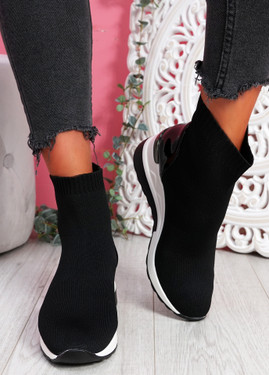 Heny Black Wedge Sock Sneakers
