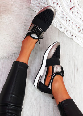 Jimo Black Cut Out Trainers