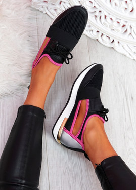 Jimo Rose Red Cut Out Trainers
