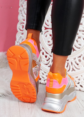 Posty Orange Chunky Flatform Trainers
