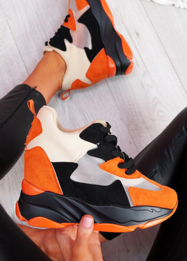 Leny Orange Wedge Trainers