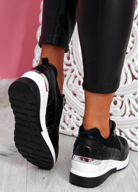 Mifa Black Croc Pattern Sneakers