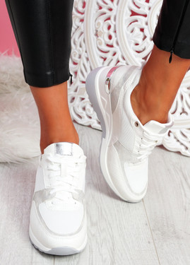 Mifa White Croc Pattern Sneakers