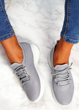 Finy Grey Knit Sport Trainers