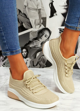 Finy Beige Knit Sport Trainers