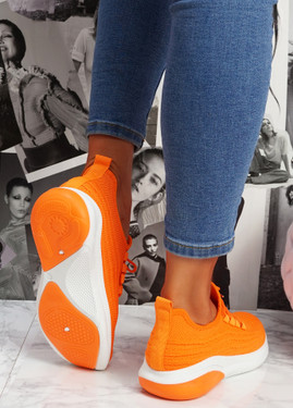 Finy Orange Knit Sport Trainers
