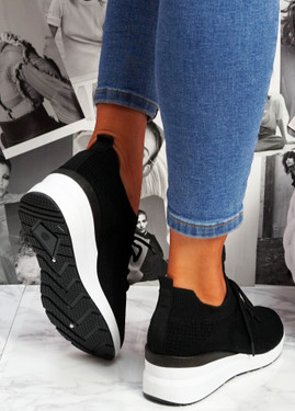 Jumma Black Knit Low Heel Sneakers