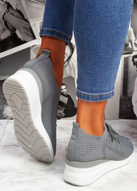 Jumma Grey Knit Low Heel Sneakers