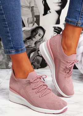 Jumma Pink Knit Low Heel Sneakers