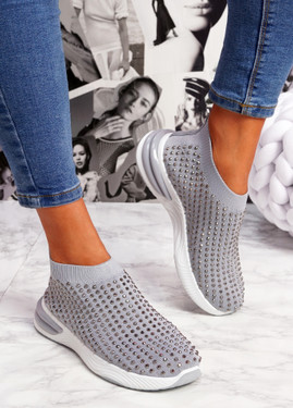 Zety Grey Studded Slip On Sneakers