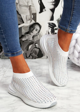 Zety White Studded Slip On Sneakers