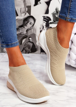 Muzy Beige Knit Slip On Trainers