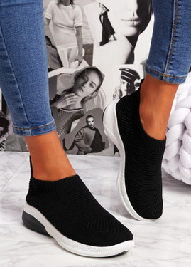 Muzy Black Knit Slip On Trainers