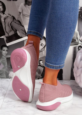 Muzy Pink Knit Slip On Trainers