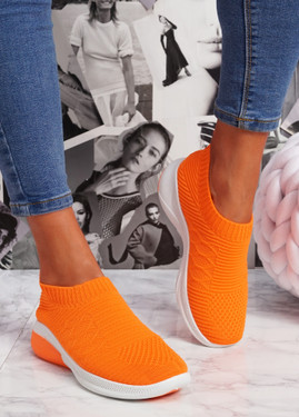 Muzy Orange Knit Slip On Trainers
