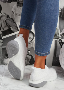 Muzy White Knit Slip On Trainers