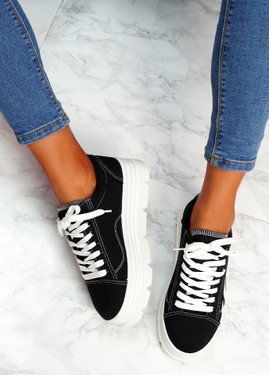 Neny Black Canvas Flames Flatform Trainers