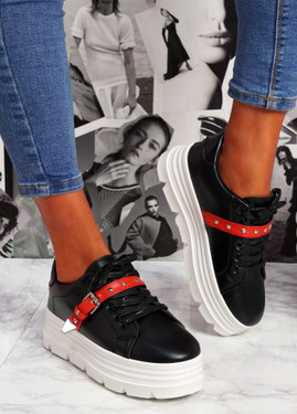 Neny Black Pu Red Flatform Trainers