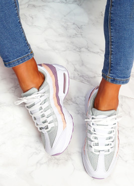 Ipy White Purple Chunky Sport Trainers