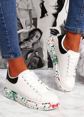 Syde White Black Pu Multicolor Trainers