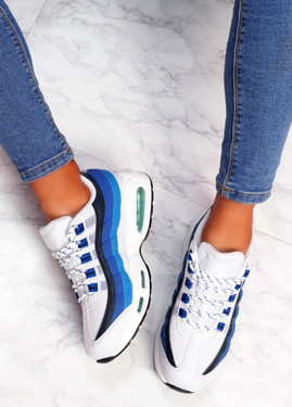 Judy White Blue Sport Sneakers