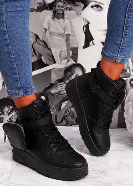 Heny Black Pocket High Top Trainers