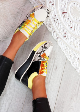 Rivva Yellow Snake Skin Pattern Trainers
