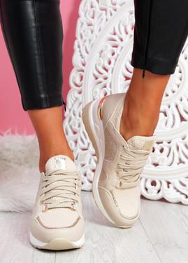 Ymma Beige Wedge Sneakers