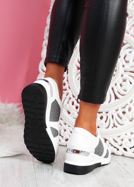 Ymma White Wedge Sneakers