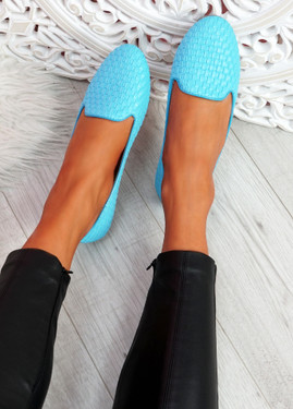 Veny Light Blue Weave Ballerinas