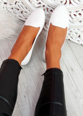 Veny White Weave Ballerinas