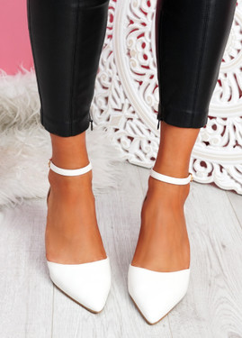 Metto White Block Heel Pumps