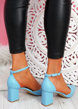 Metto Light Blue Block Heel Pumps