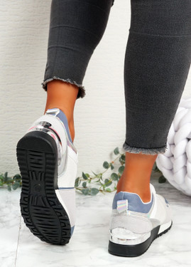 Onne White Blue Lace Up Trainers