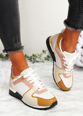 Onne White Yellow Lace Up Trainers
