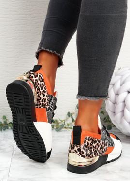 Kolle Orange Snake Leopard Trainers