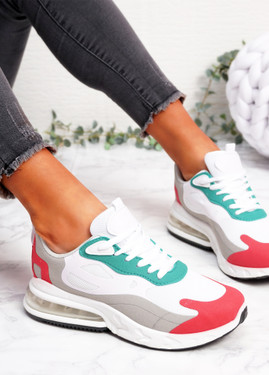 Lonny White Red Chunky Trainers