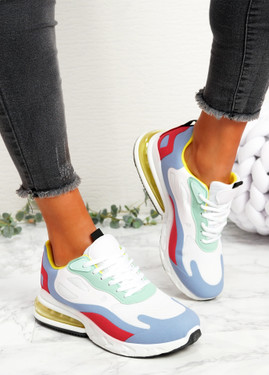 Lonny White Blue Chunky Trainers