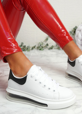 Kiddy White Black Lace Up Plimsolls