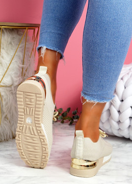 Vedy Beige Knit Trainers