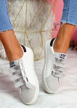 Hesa White Silver Sport Plimsolls