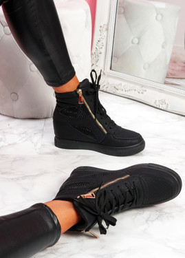 Itta All Black High Top Trainers